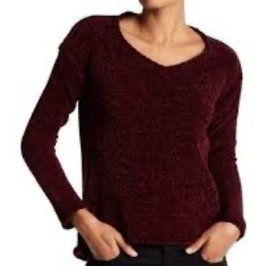 RDI Burgundy Chenille V-neck Sweater
